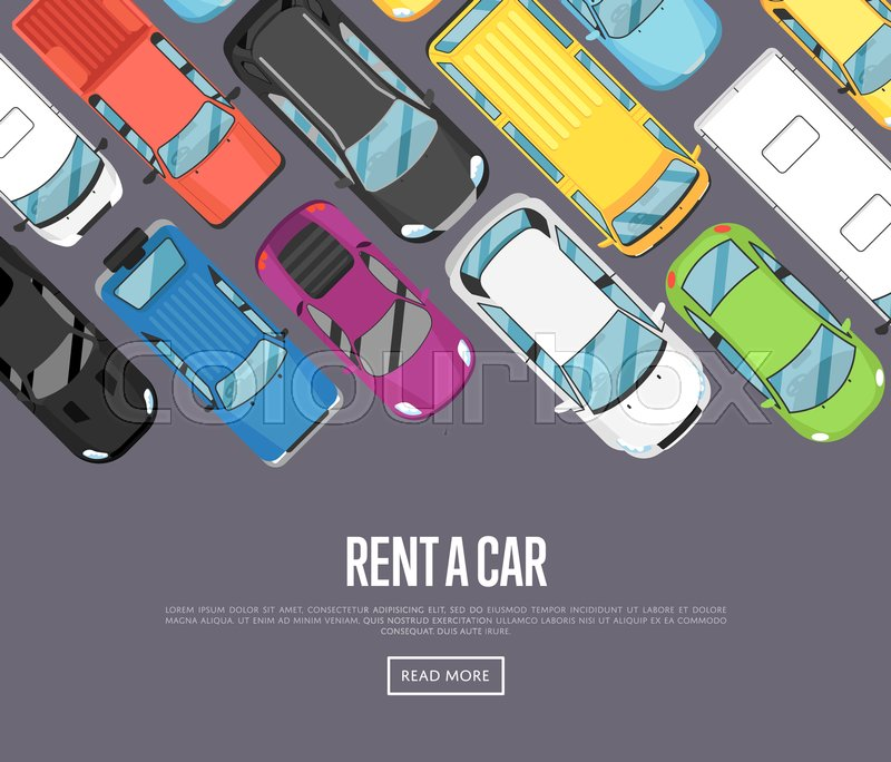 Rent A Car Poster With Modern City Stock Vector Colourbox