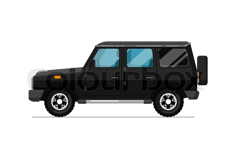 luxury jeep icon comfortable auto vehicle side view people city