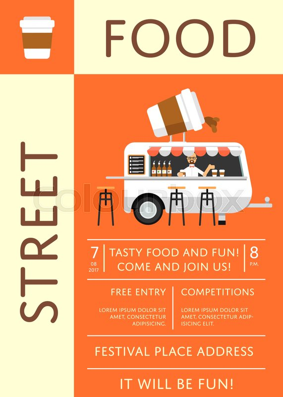 Street Food Festival Invitation In Flat Style Culinary City Event - Food truck flyer template