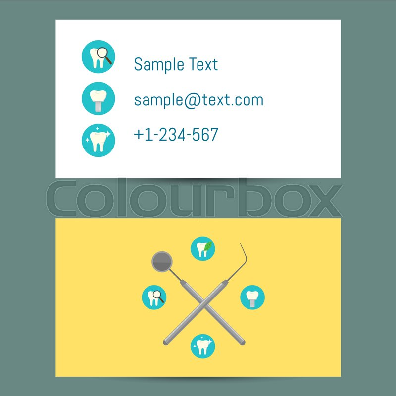Professional white and yellow business card template for dentists professional white and yellow business card template for dentists with round teeth icons and dentist equipment vector illustration wajeb Image collections