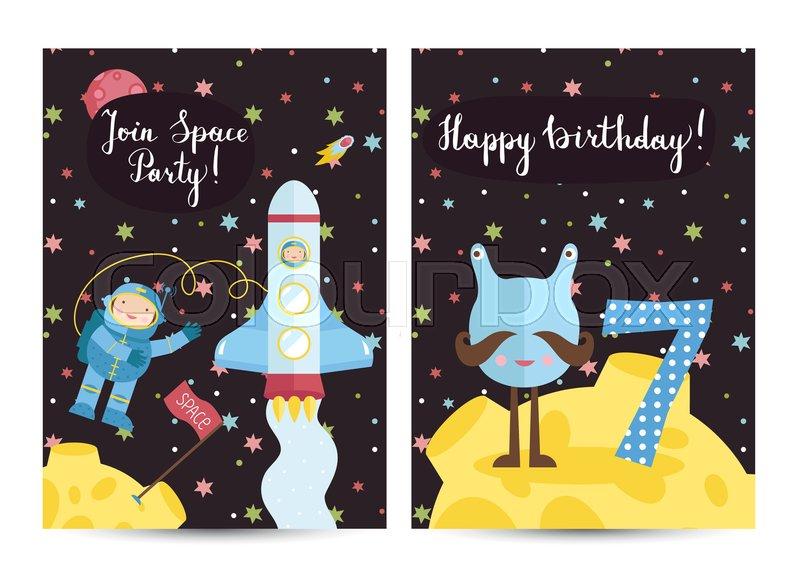 Happy Birthday Cartoon Greeting Card On Space Theme. Alien