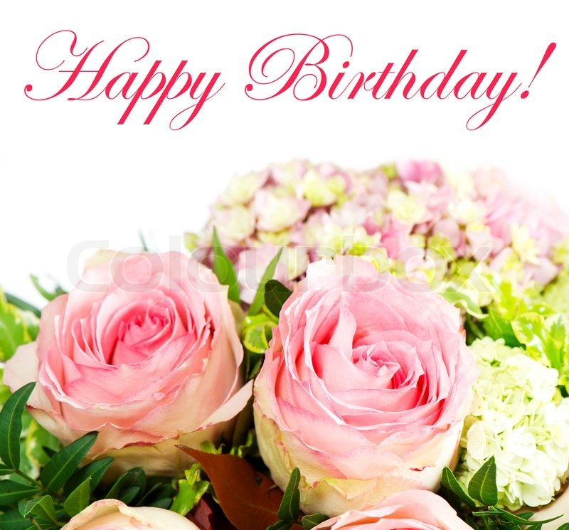 Beautiful Fresh Pink Roses Birthday Card Concept Stock Photo