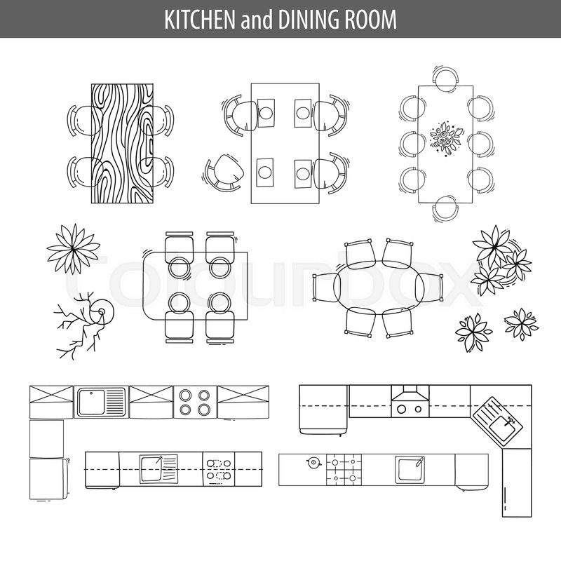 Set Of Linear Icons For Interior Top View Plans Isolated Vector Illustration Furniture And Elements Living Room Dining Kitchen Bathroom