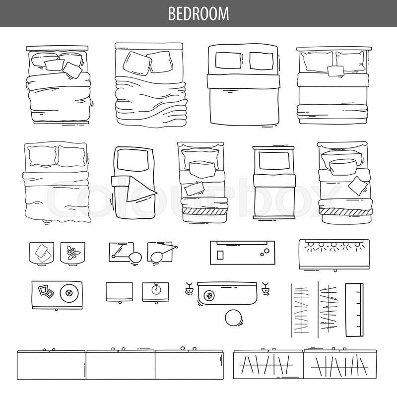 Set Of Linear Icons For Interior Top View Plans Isolated