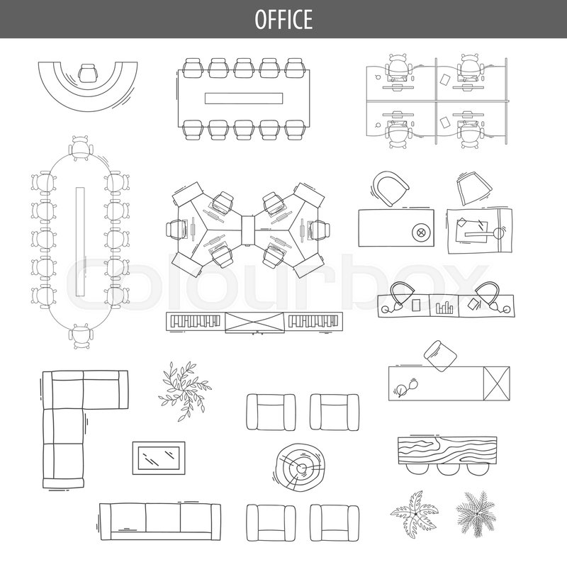 Set Of Linear Icons For Interior Top Stock Vector Colourbox