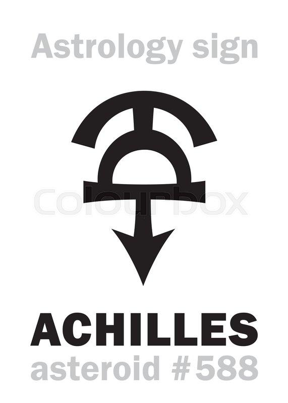 Astrology Alphabet: ACHILLES, asteroid     | Stock vector