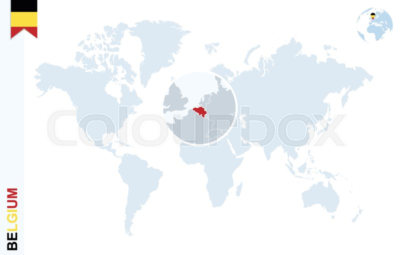 World Map With Magnifying On Belgium Stock Vector Colourbox