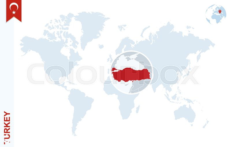 World map with magnifying on Turkey. ... | Stock vector ...