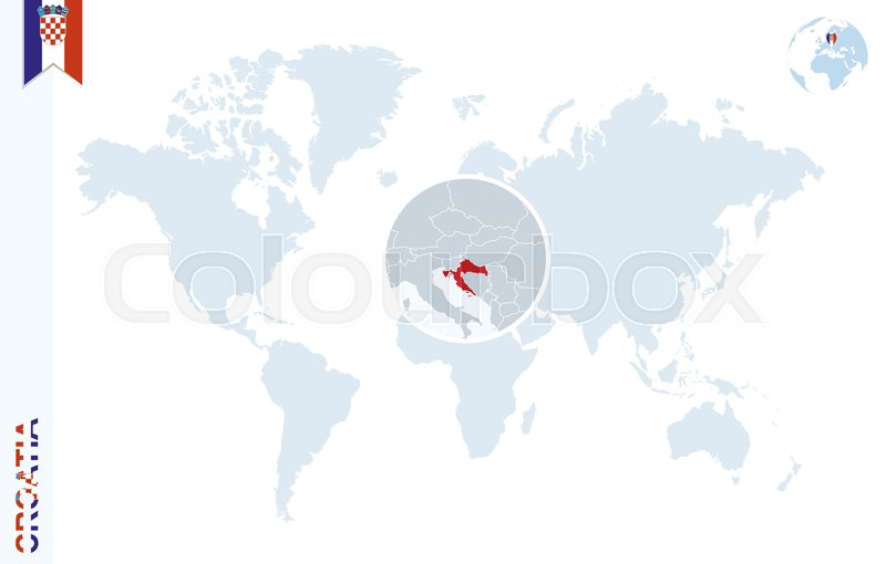 World map with magnifying on croatia blue earth globe with croatia stock vector of world map with magnifying on croatia blue earth globe with croatia gumiabroncs Images