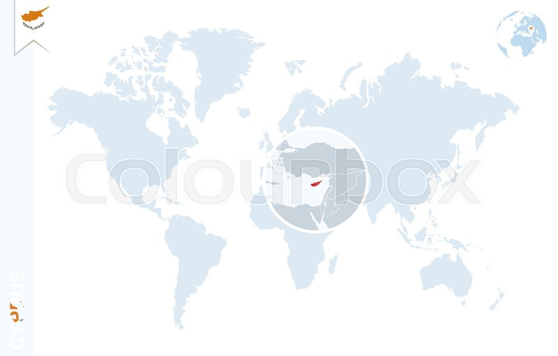 World map with magnifying on cyprus blue earth globe with cyprus world map with magnifying on cyprus blue earth globe with cyprus flag pin zoom on cyprus map vector illustration stock vector colourbox publicscrutiny Gallery