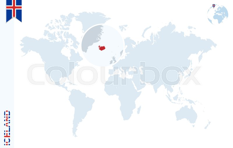 World map with magnifying on iceland blue earth globe with iceland stock vector of world map with magnifying on iceland blue earth globe with iceland gumiabroncs Image collections