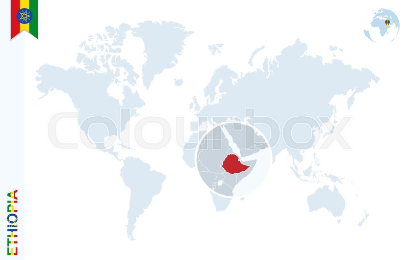 World map with magnifying on Ethiopia. Blue earth globe with ...