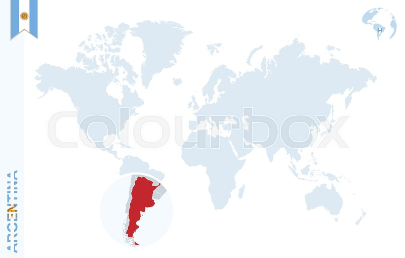 World map with magnifying on argentina blue earth globe with stock vector of world map with magnifying on argentina blue earth globe with argentina gumiabroncs Gallery