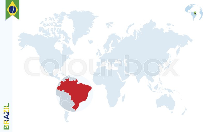 World map with magnifying on brazil blue earth globe with brazil stock vector of world map with magnifying on brazil blue earth globe with brazil gumiabroncs Image collections