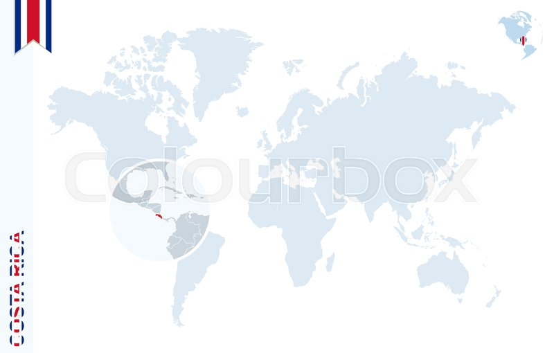 World map with magnifying on Costa Rica. Blue earth globe with Costa ...