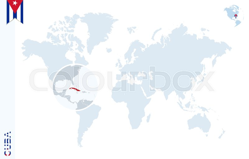 World map with magnifying on Cuba. ... | Stock vector ...