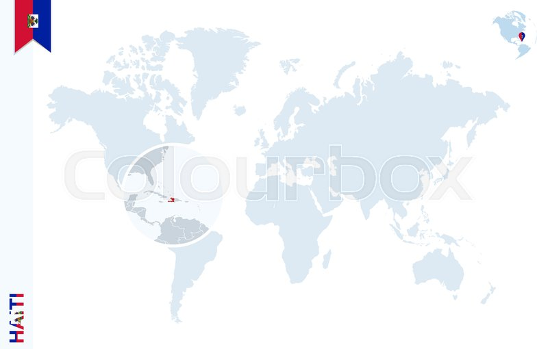 World map with magnifying on haiti blue earth globe with haiti flag world map with magnifying on haiti blue earth globe with haiti flag pin zoom on haiti map vector illustration stock vector colourbox gumiabroncs Gallery