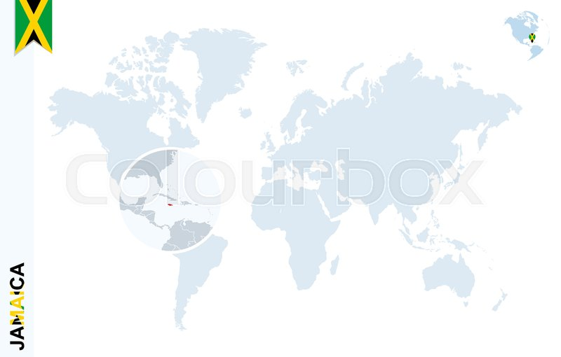 World map with magnifying on jamaica blue earth globe with jamaica world map with magnifying on jamaica blue earth globe with jamaica flag pin zoom on jamaica map vector illustration stock vector colourbox gumiabroncs Image collections