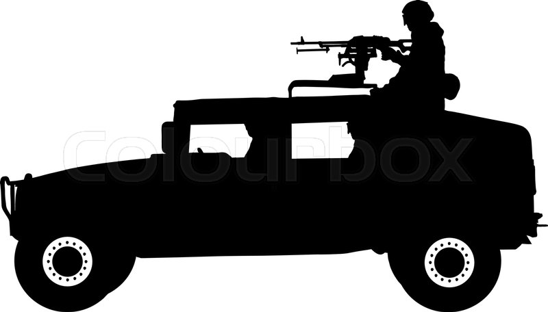 A Soldier Stands With A Rifle On A Military Jeep
