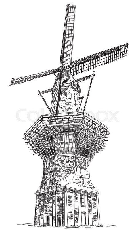 Line Drawing Windmill : Water pumping windmill antique drawing ca hand drawn