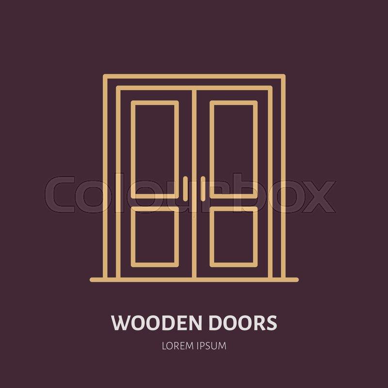 wooden doors installation logo repair flat line icon interior