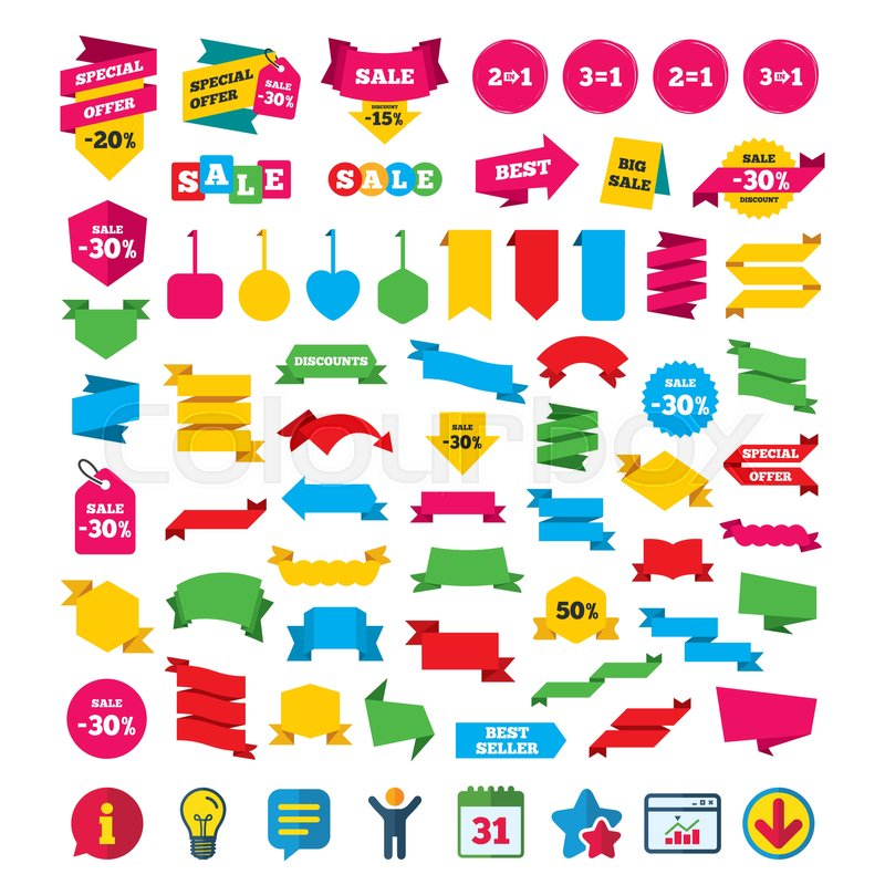 Special offer icons  Take two pay for     | Stock vector