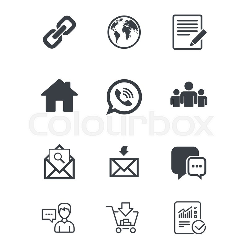Communication Icons Contact Mail Signs E Mail Call Phone And