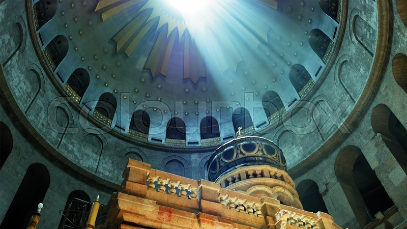 Jesus Christ Empty tomb and Dome rotunda over it in Jerusalem in the Holy Sepulcher Church. The Sepulchre Church and Empty Tomb are the most sacred places for all ..., stock photo