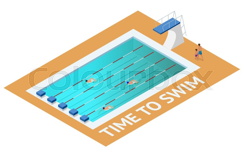 Isometric people diving into water in to the swimming pool, diver. Male swimmer, that jumping and diving into indoor sport swimming pool. Sporty man, vector