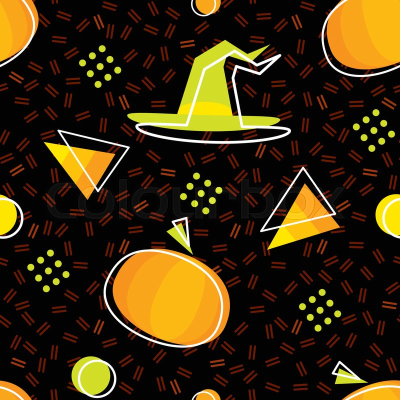 seamless halloween pattern in memphis style with pumpkins candycorns and witch hat abstract vector backgrounds with geometric ornaments in the style of