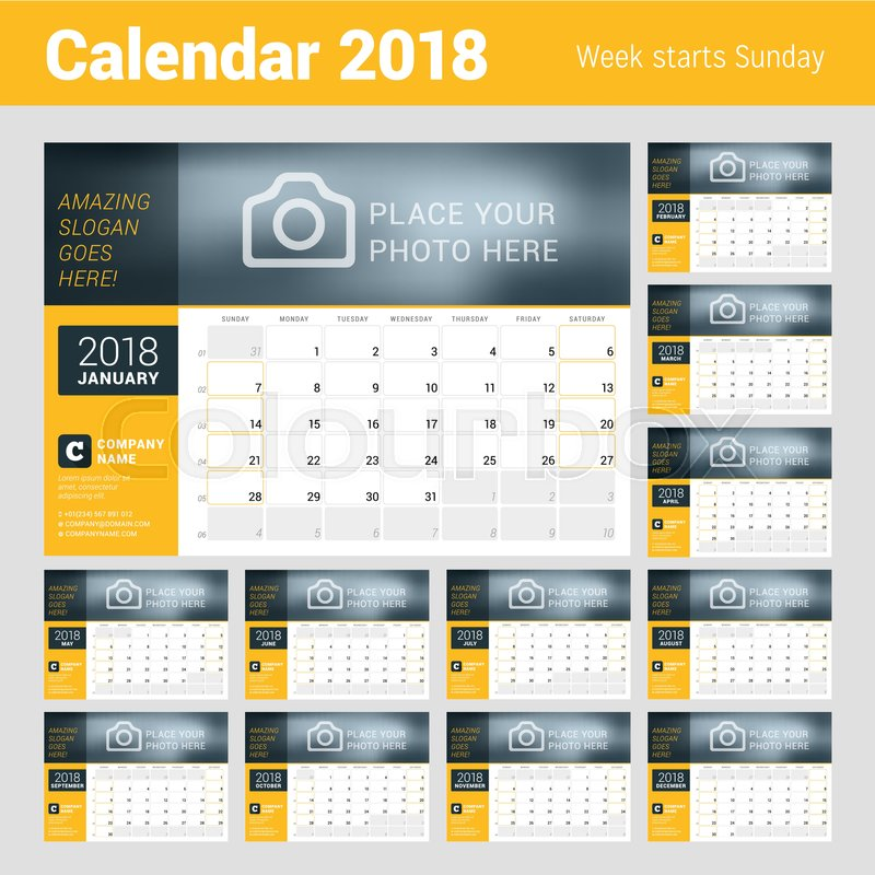 calendar planner for 2018 year vector design template with place