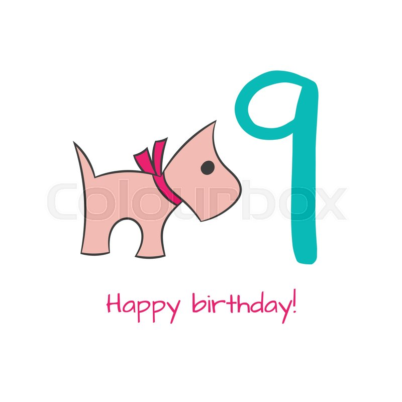 Happy Birthday Card With Dog In Hand Drawn Style For Cards Fabric