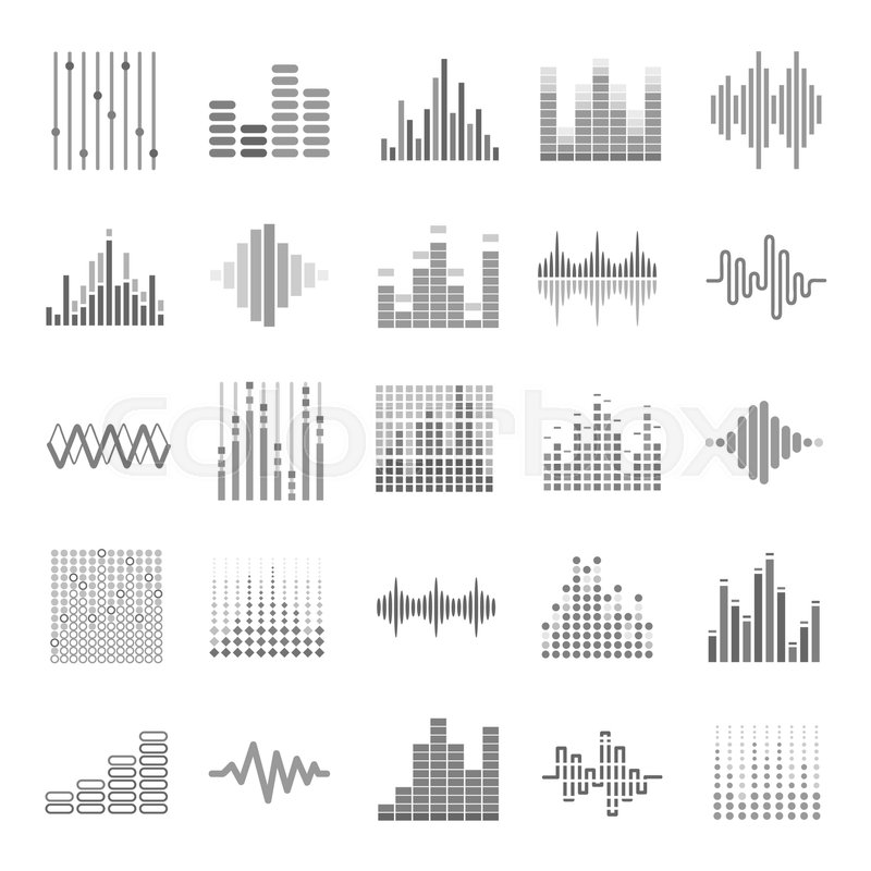 music equalizer icons set audio wave scales or sound volume graphs