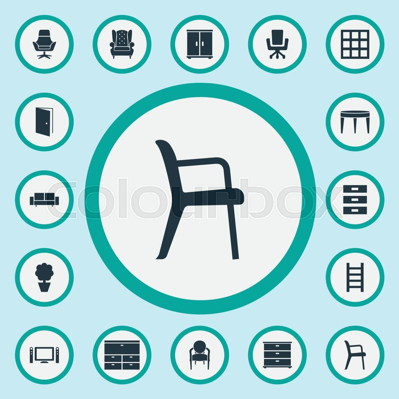 Elements Stairway, Cabinet, Office Interior And Other Synonyms Table,  Conference And Commodes. Vector Illustration Set Of Simple Furniture Icons.