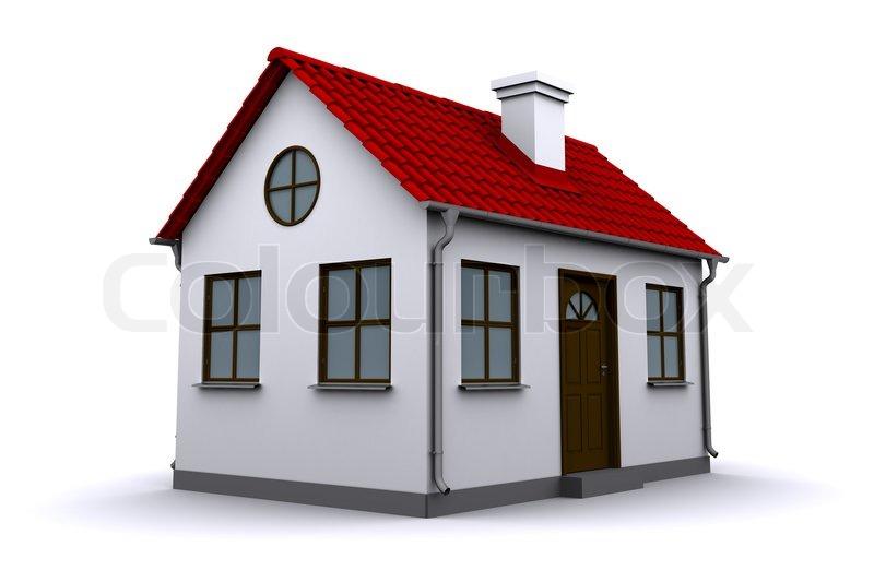 ein kleines haus mit rotem dach stockfoto colourbox. Black Bedroom Furniture Sets. Home Design Ideas