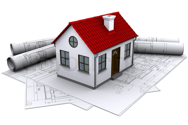 White house on the construction drawings stock photo for House building contractors