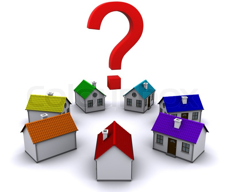 Seven Small Houses Around A Question Mark Stock Photo
