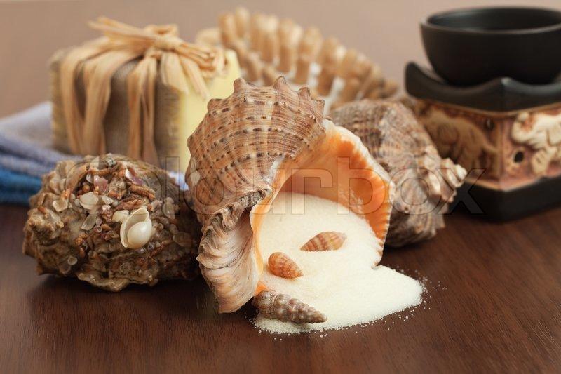 Salt in the seashell bath accessories background stock for Seashell bath accessories