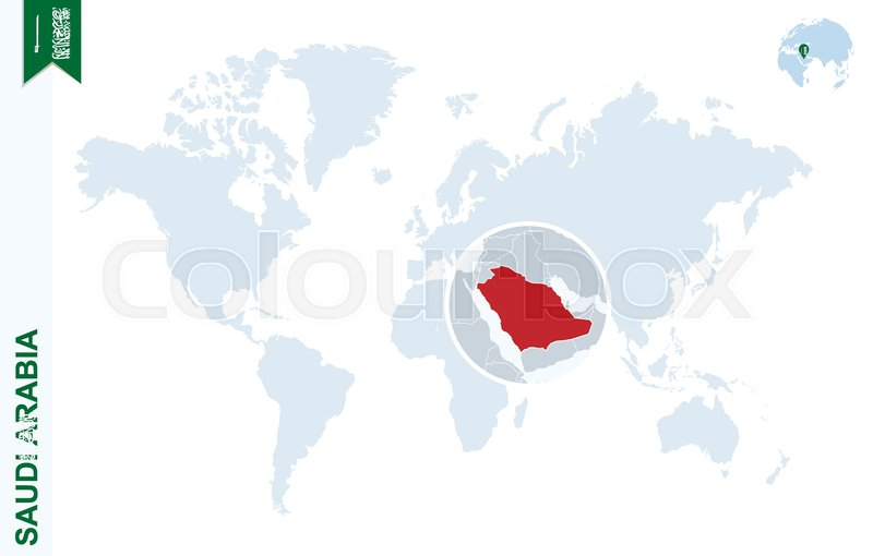 World map with magnifying on Saudi Arabia. Blue earth globe with ...