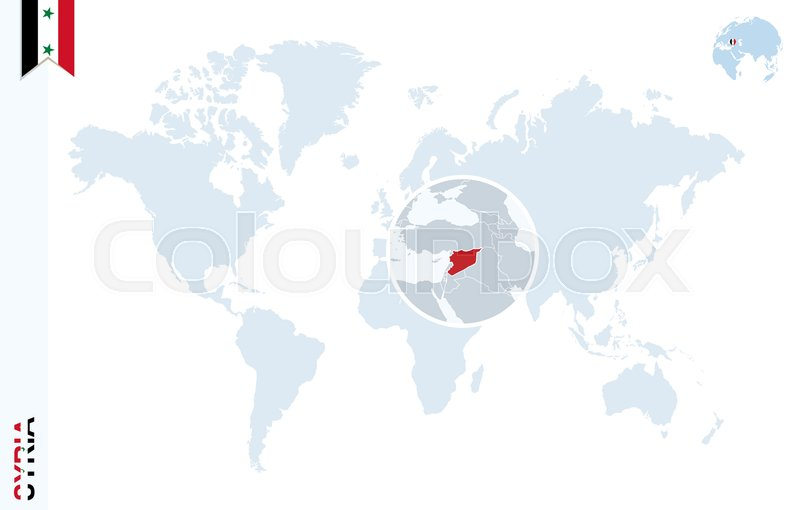 World map with magnifying on Syria. Blue earth globe with Syria flag ...