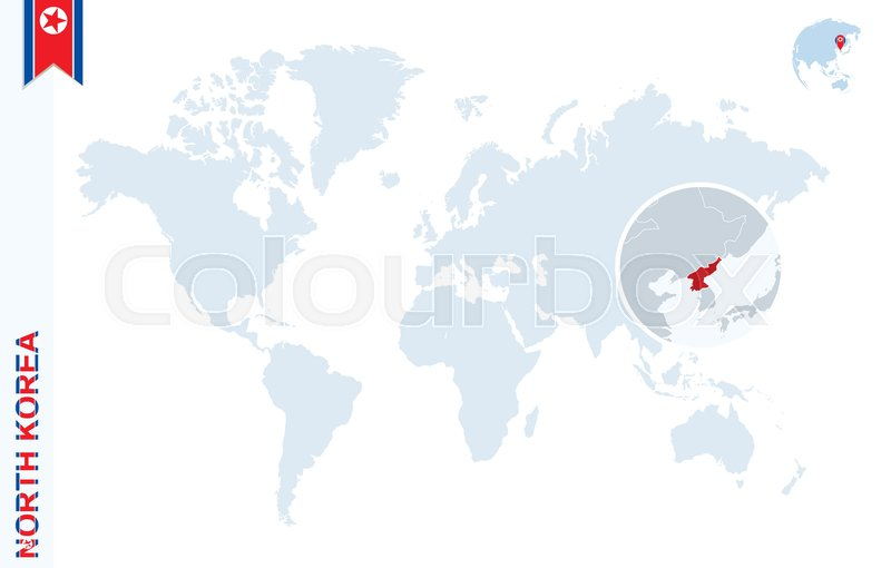 World map with magnifying on north korea blue earth globe with stock vector of world map with magnifying on north korea blue earth globe with gumiabroncs Gallery