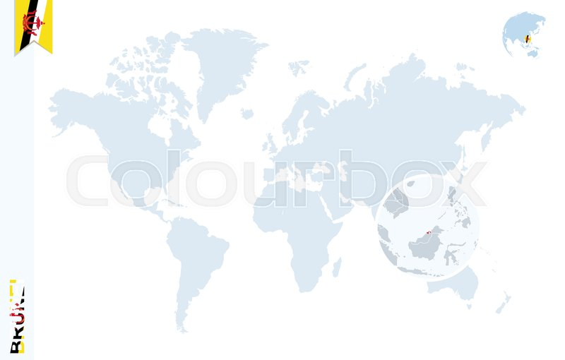 World map with magnifying on Brunei Blue earth globe with Brunei