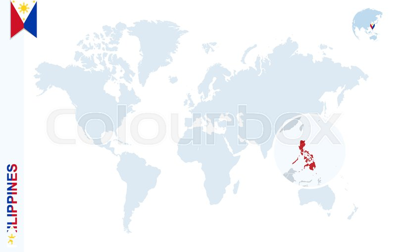 World map with magnifying on philippines blue earth globe with stock vector of world map with magnifying on philippines blue earth globe with philippines gumiabroncs