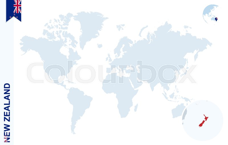 World map with magnifying on new zealand blue earth globe with new world map with magnifying on new zealand blue earth globe with new zealand flag pin zoom on new zealand map vector illustration stock vector gumiabroncs Gallery