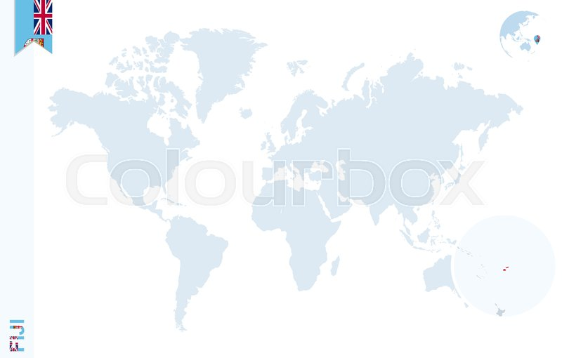 World map with magnifying on Fiji. ... | Stock Vector | Colourbox