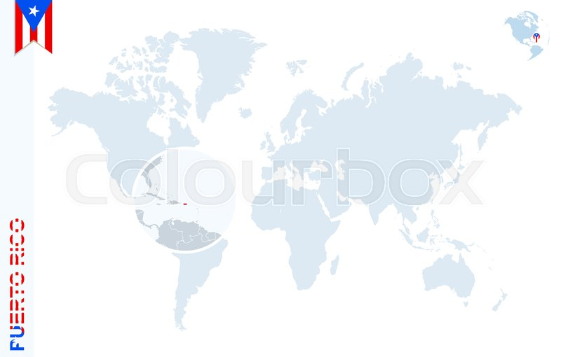 World map with magnifying on Puerto Rico. Blue earth globe with ...