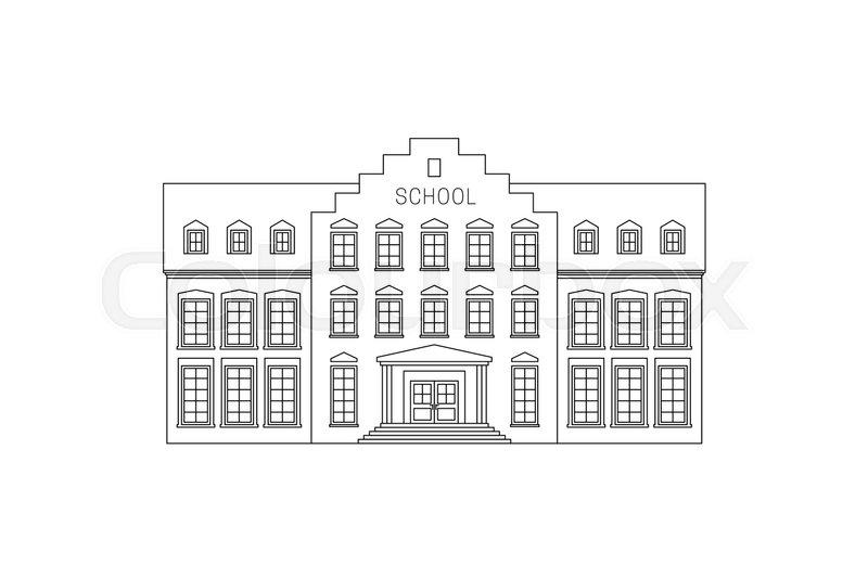 Line Drawing School : School building line drawing vector thin illustration