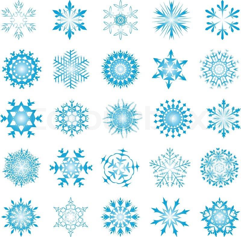 Collection of vector schneeflocken in unterschiedlicher form