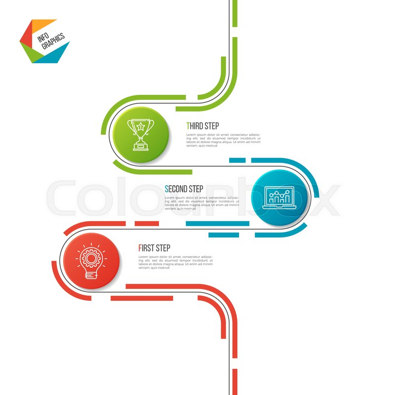 abstract 3 steps road timeline infographic template vector illustration stock vector colourbox