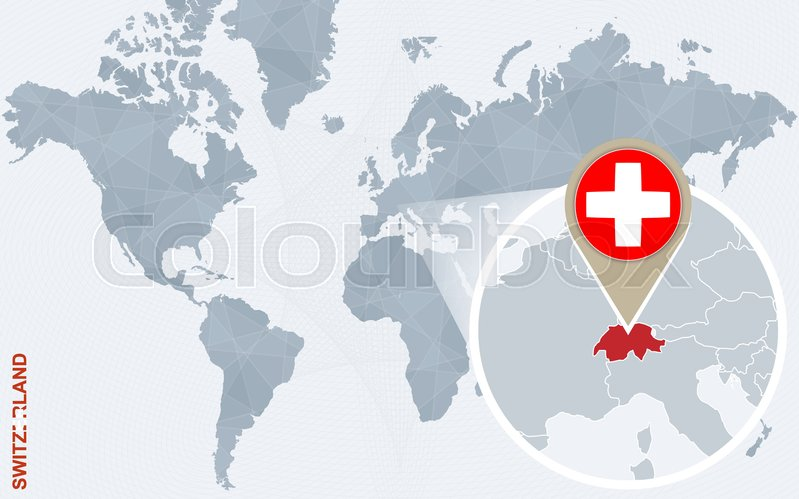 Abstract blue world map with magnified Switzerland Switzerland